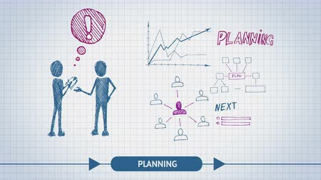 de brainstorming : Business sketch project or process timeline visualization with infographic elements of charts, financial figures, data analysis concept available in 4k UHD FullHD and HD doodle video animation footage