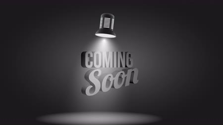 fényszóró : Coming soon message illuminated with light projector realistic business new product internet promotion splash screen with moving spotlight available in 4k UHD FullHD and HD 3d video animation footage