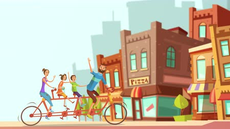 brasão : Cartoon family on bicycle video animation footage