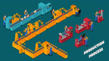 máquina : Isometric factory production video animation footage Stock Footage