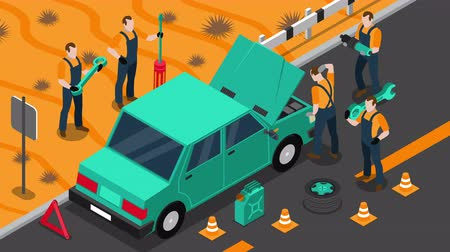 pil : Car service isometric footage