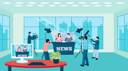 Pressman and TV reporter video animation footage