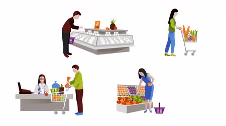 People in supermarket video animation footage