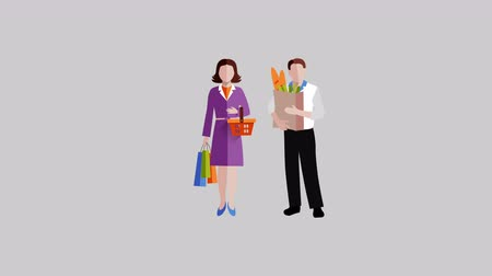 People in supermarket flat video animation footage