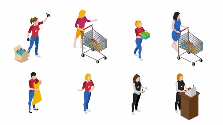 People in supermarket isometric video animation footage