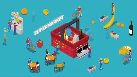 lodówka : People in supermarket isometric footage Wideo