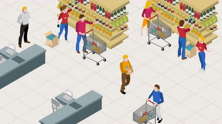 People in supermarket isometric footage scene Стоковые видеозаписи