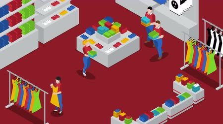 People in clothing and electronic stores isometric footage