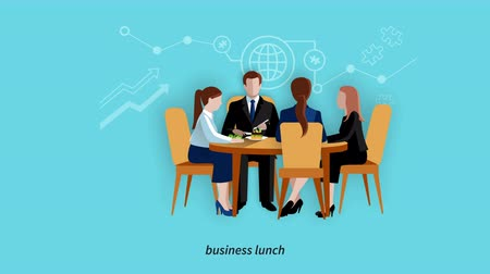 Business lunch break footage Стоковые видеозаписи