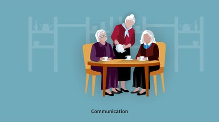 Elderly People spending time video animation footage