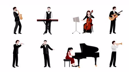Musicians flat icons animation footage