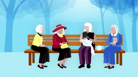 Old people outdoors video animation footage