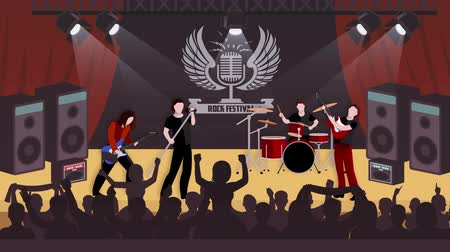 Rock music concert scenes animation footage