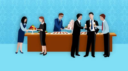 Business lunch break video animation footage Стоковые видеозаписи