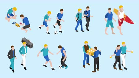 Friends isometric icons set footage