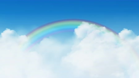 White clouds moving from right to left on clear blue sky with rainbow on background available in 4k UHD FullHD and HD 3d loopable video footage.