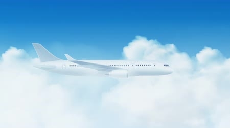 Plane flying over moving clouds on clear blue sky available in 4k UHD FullHD and HD 3d loopable video footage