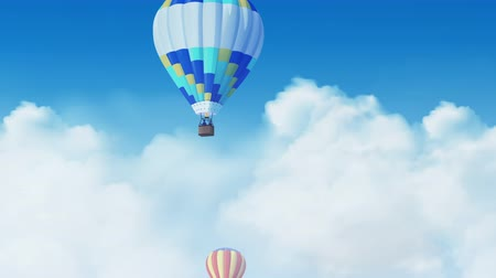 Air balloons flying over moving clouds loopable footage Стоковые видеозаписи