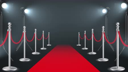 Red carpet with lights realistic video footage