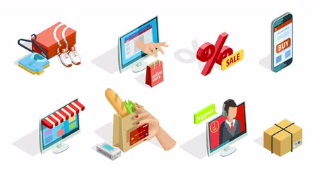 Online shopping isometric shadow icons collection available in 4k UHD FullHD and HD 3d loopable realistic video footage Стоковые видеозаписи