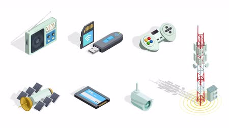 Wireless connection technology electronic gadgets and devices isometric icons animated available in 4k UHD FullHD and HD 3d loopable realistic video footage Стоковые видеозаписи