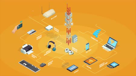 Wireless connection flowchart with electronic gadgets and devices isometric icons animated available in 4k UHD FullHD and HD 3d loopable realistic video footage