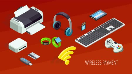 Wireless payment concept with electronic gadgets and devices isometric icons animated available in 4k UHD FullHD and HD 3d loopable realistic video footage Стоковые видеозаписи