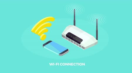Wireless connected computer and mobile devices isometric icons animated available in 4k UHD FullHD and HD 3d loopable realistic video footage