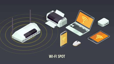 Wifi and satellite connection concept with electronic gadgets and devices isometric icons animated available in 4k UHD FullHD and HD 3d loopable realistic video footage. Стоковые видеозаписи