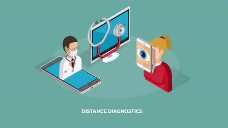 diagnostikovat : Digital medicine concept with heart rate monitor and distant diagnostics isometric icons available in 4k UHD FullHD and HD 3d loopable realistic video footage