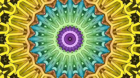 psicodélico : 4K Colorful looping kaleidoscope sequence. Abstract motion graphics background. 4K UHD 4096 x 2304 ultra high definition Vídeos