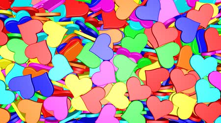 любовь : 4K Colorful hearts is falling down on a white and forming a wall in front of the camera. 4K UHD 4096 x 2304 ultra high definition with alpha