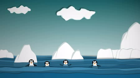 szín : This is a funny cartoon with penguins on ice