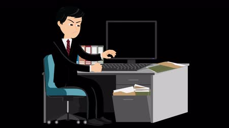 estação de trabalho : This loop cartoon video shows an angry office worker at the pc