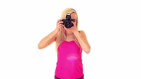 fényképész : young blonde woman with professional photo camera
