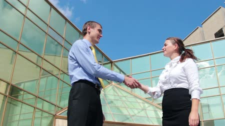 homem de negócios : Young businesswoman and businessman meeting and handshaking