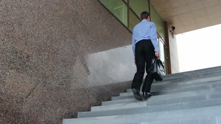 praca : Businessman with suitcase walking the stairs to work