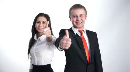 деловая женщина : businesspeople showing thumbs up with a smile