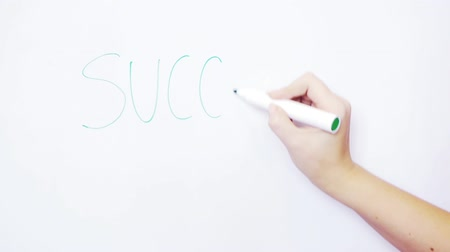 vonalvezetés : womans hand writing on the board word success Stock mozgókép