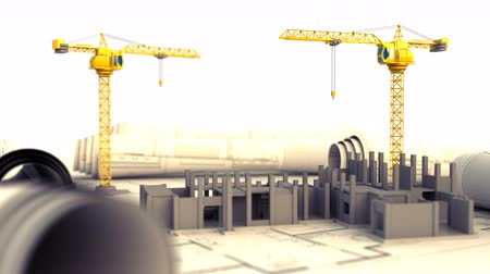 bina : 3d animation of two cranes and building construction over drawings paper Stok Video