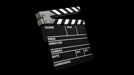 film slate : 3d animation of cinema clap with alpha matte isolated
