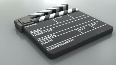 film slate : 3d animation of cinema clap, closeup shot Stock Footage