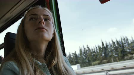 runaway : Pretty Girl Riding tourist Bus in europe Stock Footage