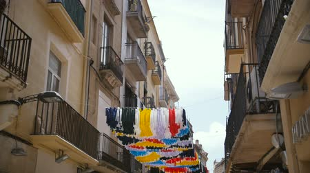 spanyolország : Gracia Festival Decorations in Spain. Street is decorated with hand residents of the street