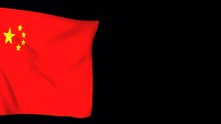sosyalizm : Background China Flag waving on black. Animated Symbol of the country.