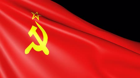 sosyalizm : USSR flag isolated. Movement of the fabric with the symbol of the Soviet Union.