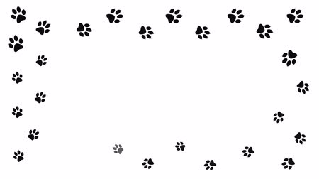 lobo : Background with animal paw print. Cartoon comic funny paws. Stock Footage