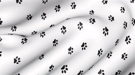 króliczek : Animal paw prints on animated fabric. Abstract background with traces of the beast.