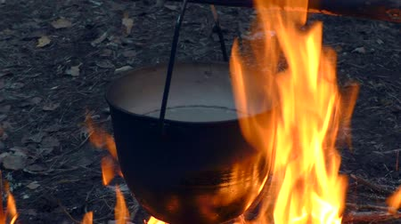 kamp ateşi : Boiling water on fire in a hike. Stok Video