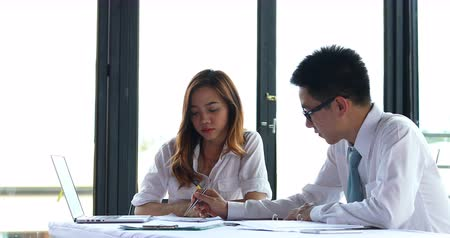 asian business man and woman busy working team consult planing in smart office